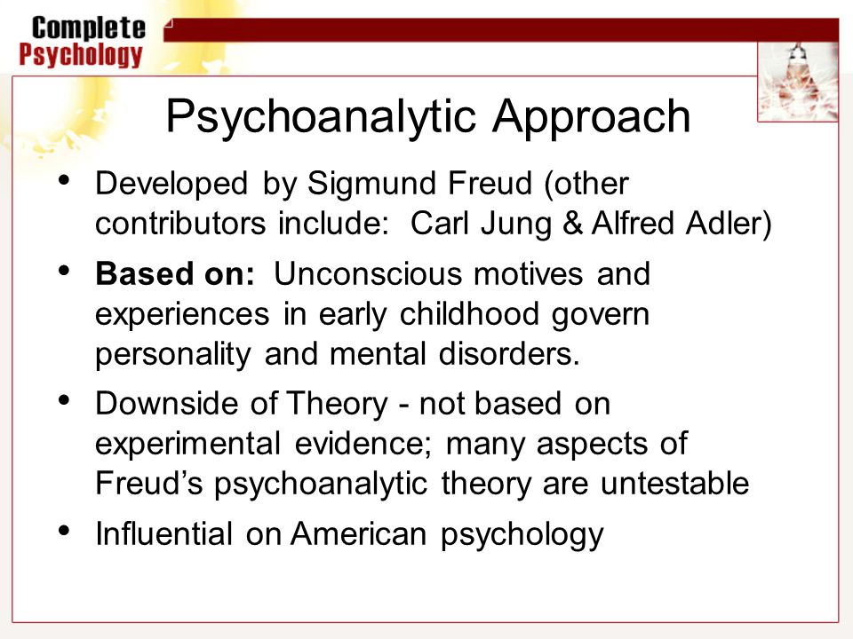 psychoanalytic approach to personality Free essay: analyzing the components of the psychoanalytic approach to personality herbert reeves psy/250 april 26, 2011 david brueshoff analyzing the.