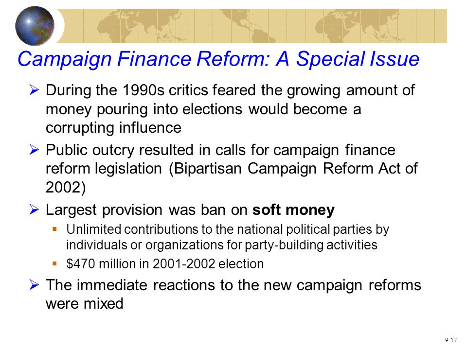 campaign finance reform I was musing the other day about something or other, and for some reason it occurred to me that there are several subjects near and dear to progressive hearts that i flatly disagree with i'm not talking about, say, charter schools, where there's a robust, ongoing intra-liberal debate and both.
