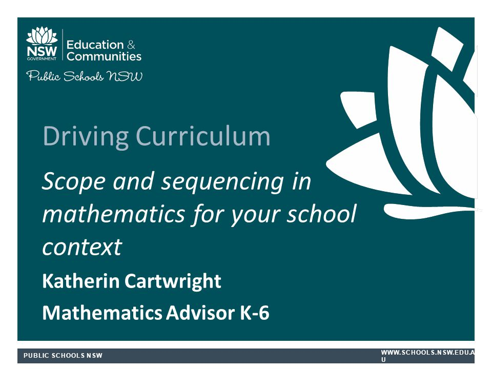 Driving Curriculum Scope and sequencing in mathematics for your school context. Katherin Cartwright.