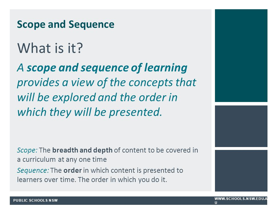 Scope and Sequence What is it