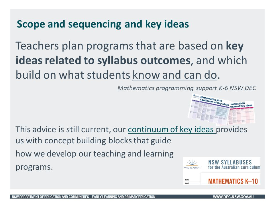 Scope and sequencing and key ideas