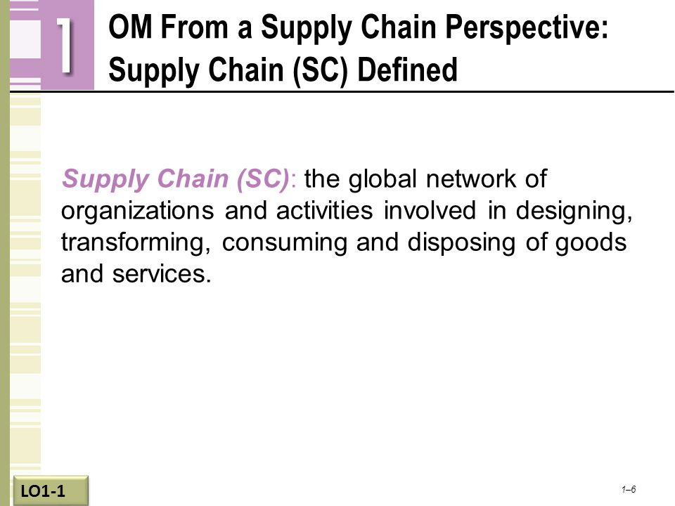 OM From a Supply Chain Perspective: Supply Chain (SC) Defined