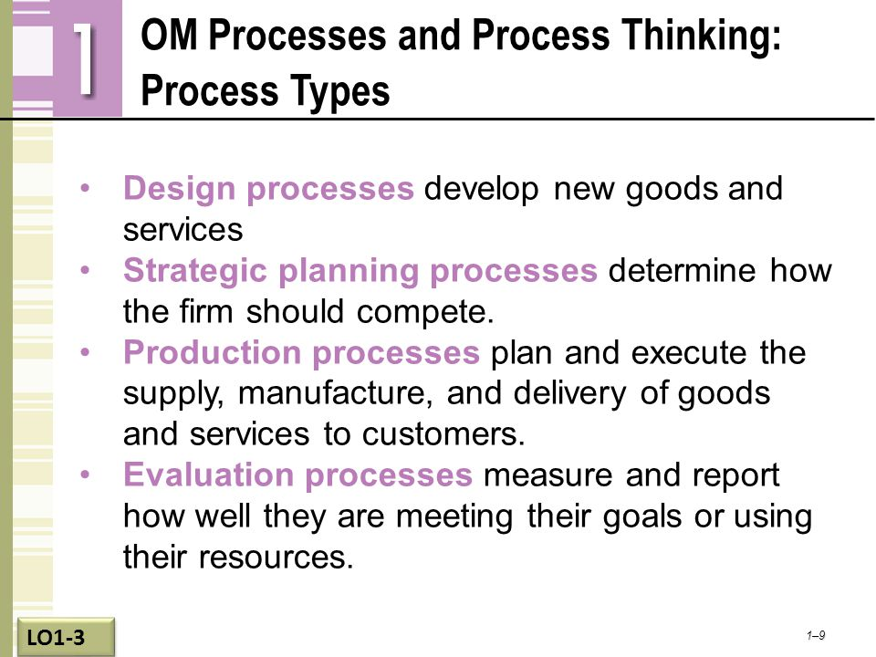 OM Processes and Process Thinking: Process Types