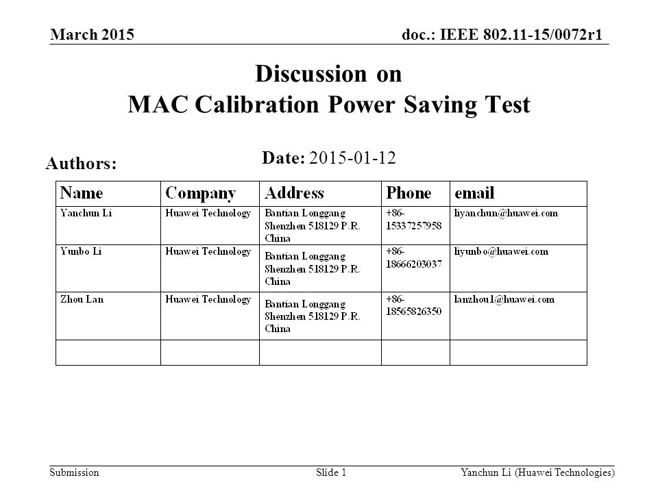 Discussion on MAC Calibration Power Saving Test