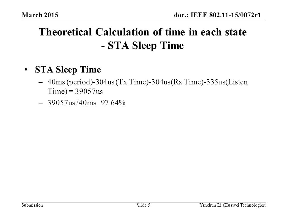 Theoretical Calculation of time in each state - STA Sleep Time