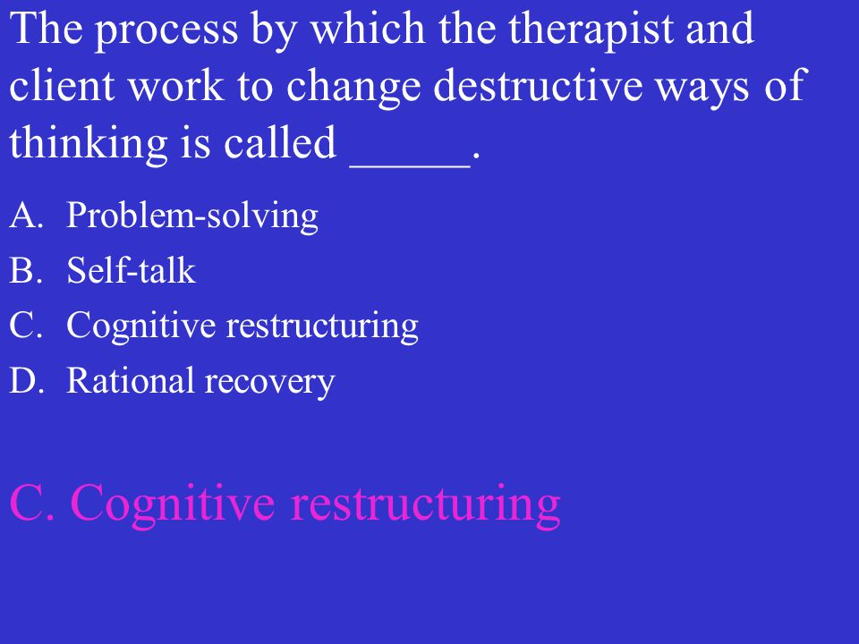 C. Cognitive restructuring