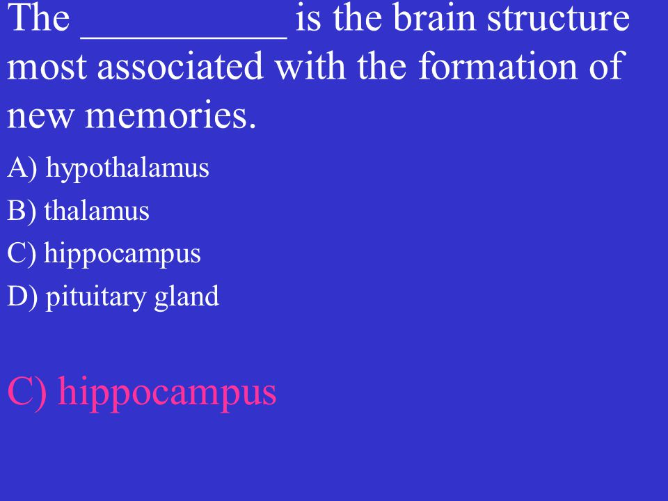 The __________ is the brain structure most associated with the formation of new memories.