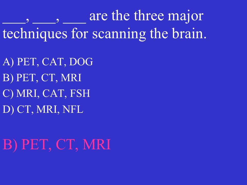 ___, ___, ___ are the three major techniques for scanning the brain.