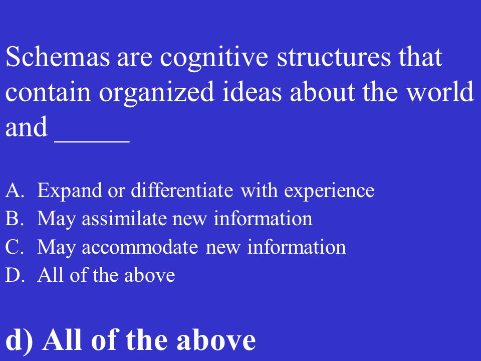 Schemas are cognitive structures that contain organized ideas about the world and _____