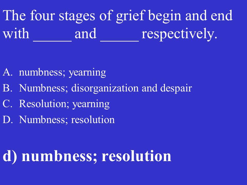 d) numbness; resolution