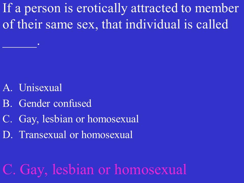 C. Gay, lesbian or homosexual