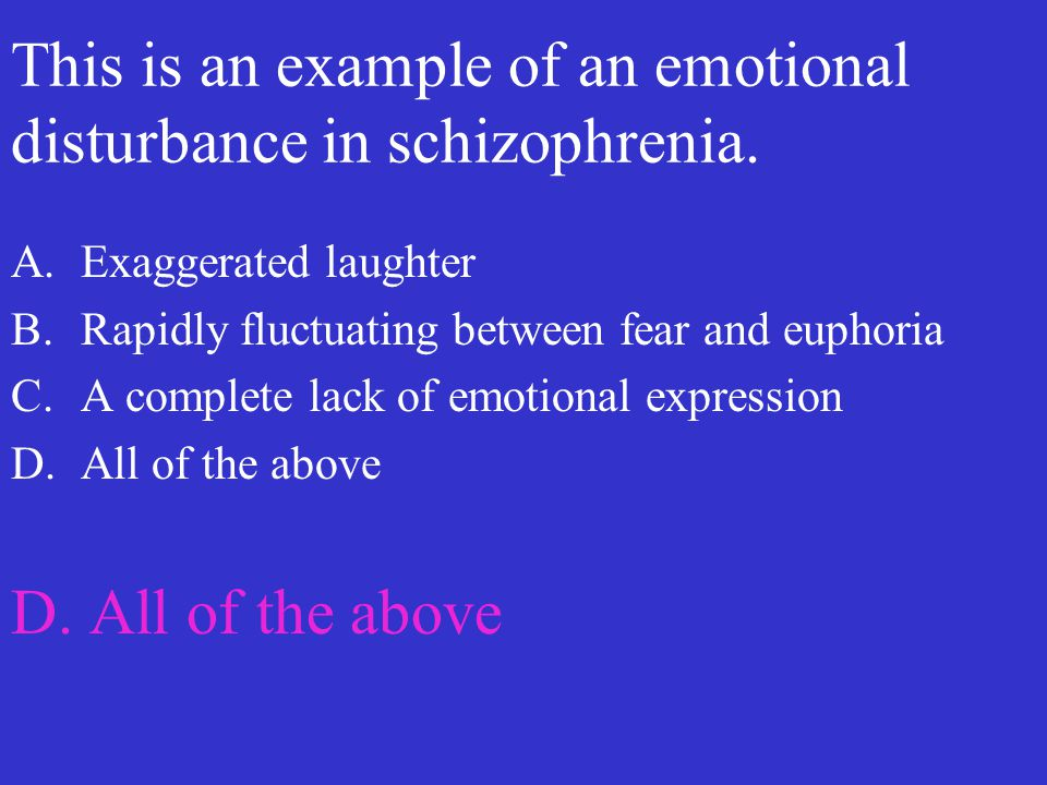 This is an example of an emotional disturbance in schizophrenia.