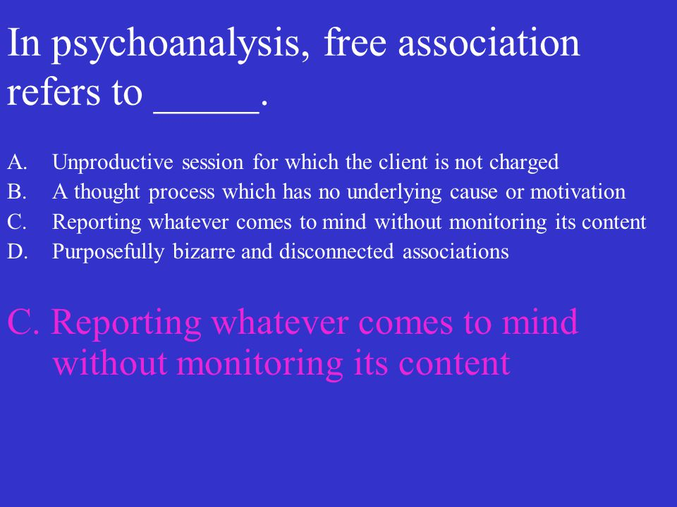 In psychoanalysis, free association refers to _____.