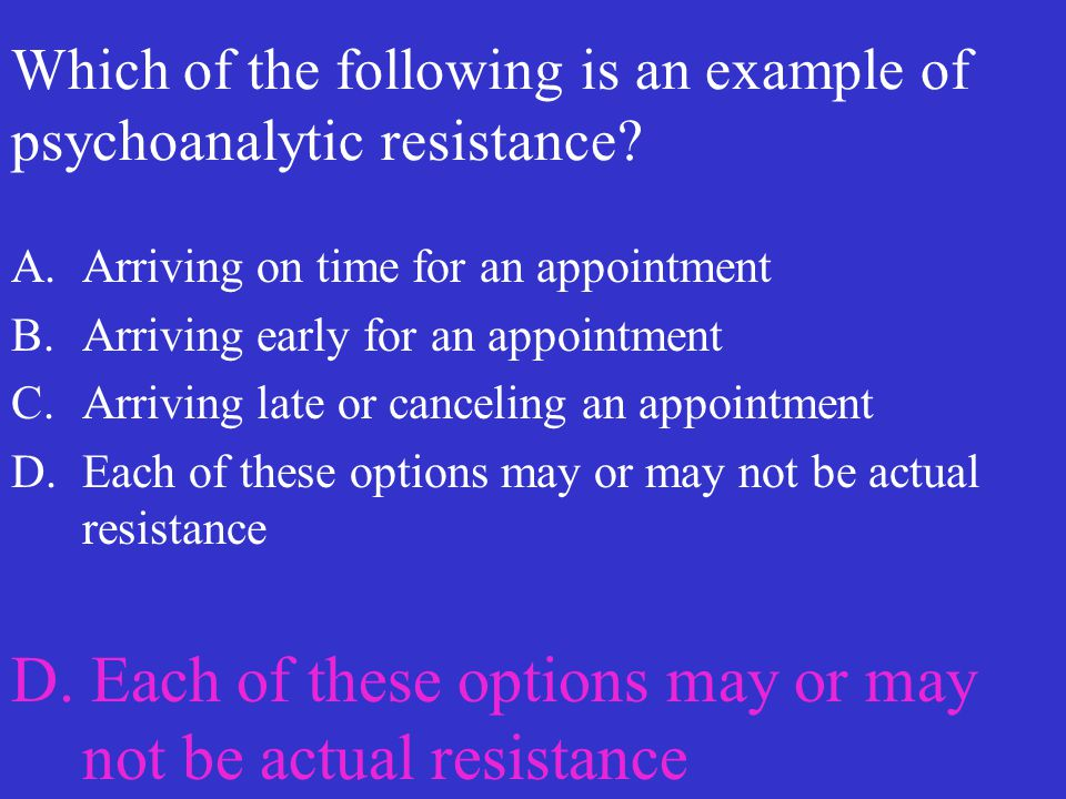 Which of the following is an example of psychoanalytic resistance