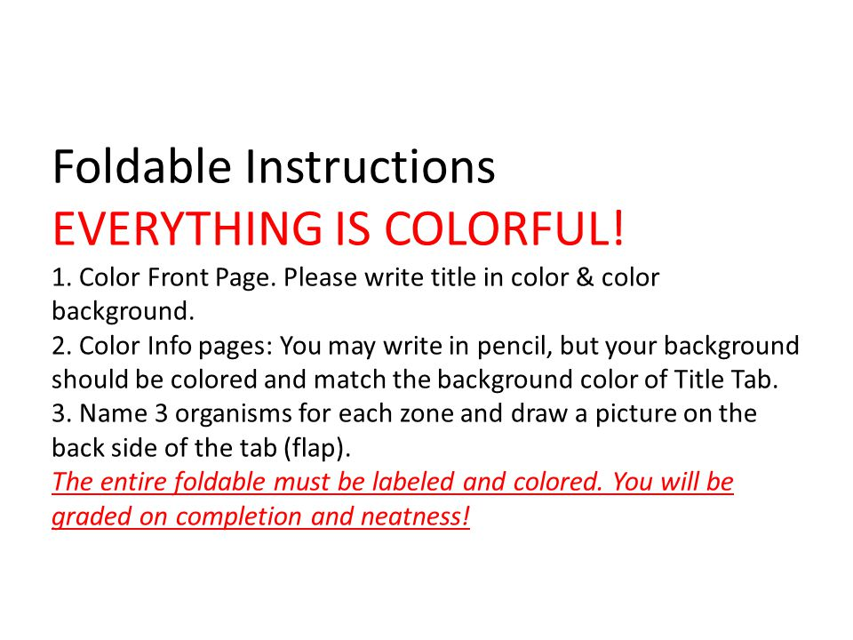 Foldable Instructions EVERYTHING IS COLORFUL. 1. Color Front Page