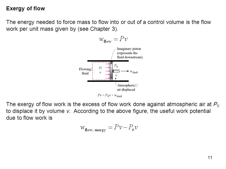 Exergy of flow The energy needed to force mass to flow into or out of a control volume is the flow work per unit mass given by (see Chapter 3).