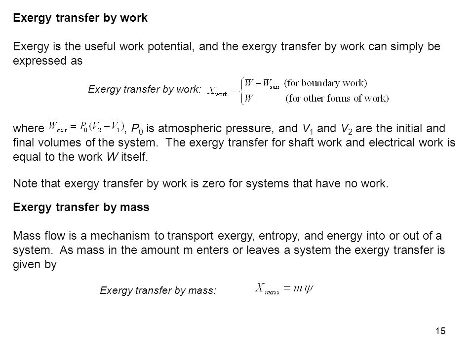 Exergy transfer by work