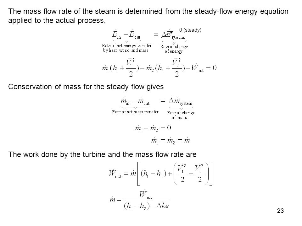 Conservation of mass for the steady flow gives