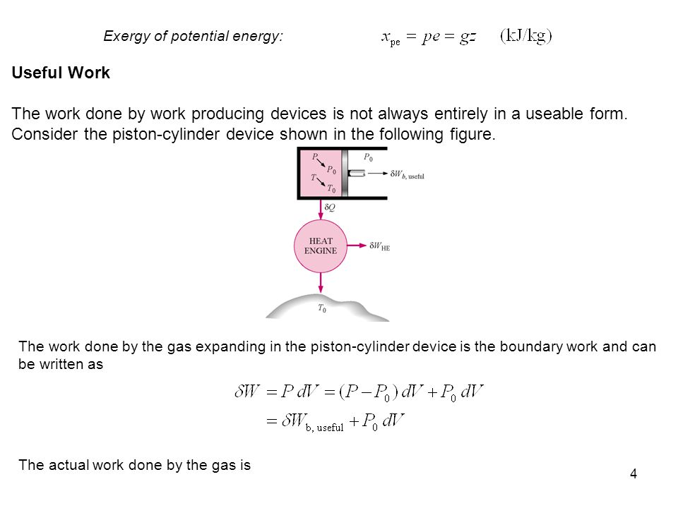 Exergy of potential energy: