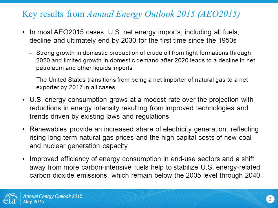 Key results from Annual Energy Outlook 2015 (AEO2015)