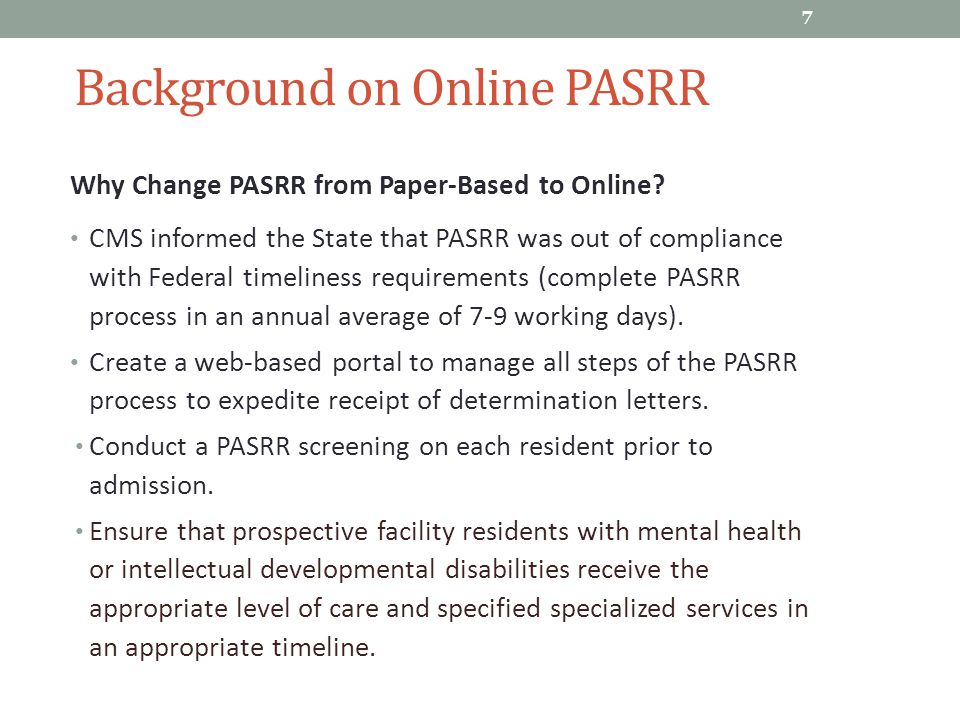 online pasrr training general topics for all users of the online 7 background on online pasrr
