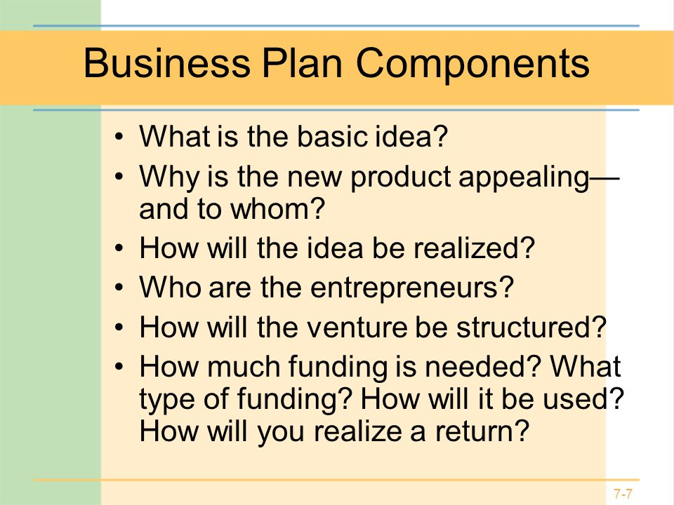An Analysis of the Components of a Business Plan