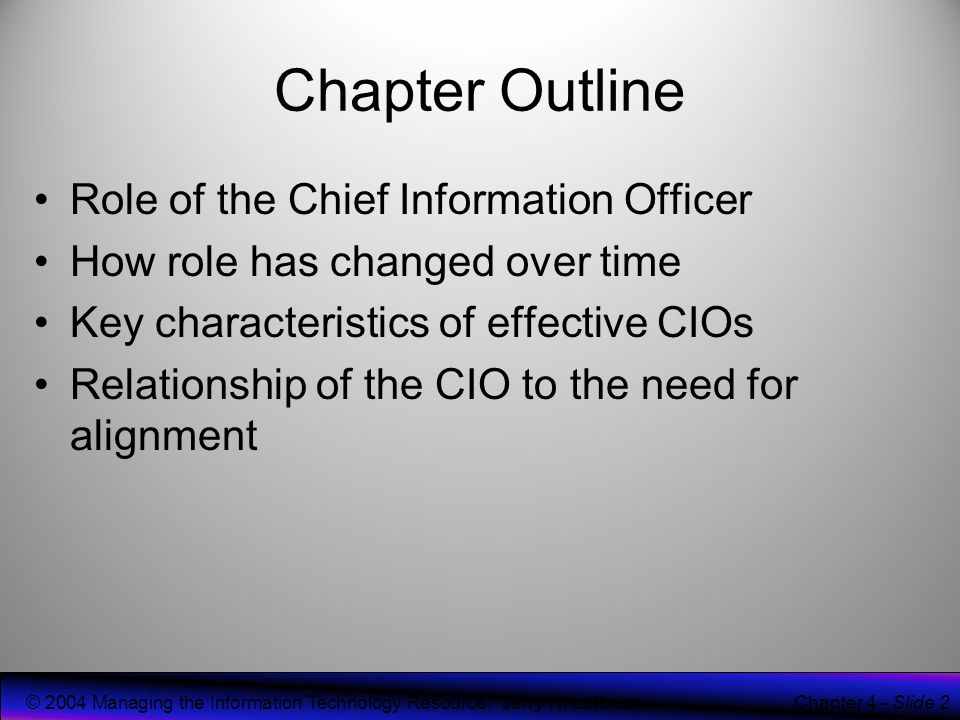 """role of the chief information officer information technology essay Free essay: the chief information officer is also known by the title information technology director according to the us department of labor, """"chief."""