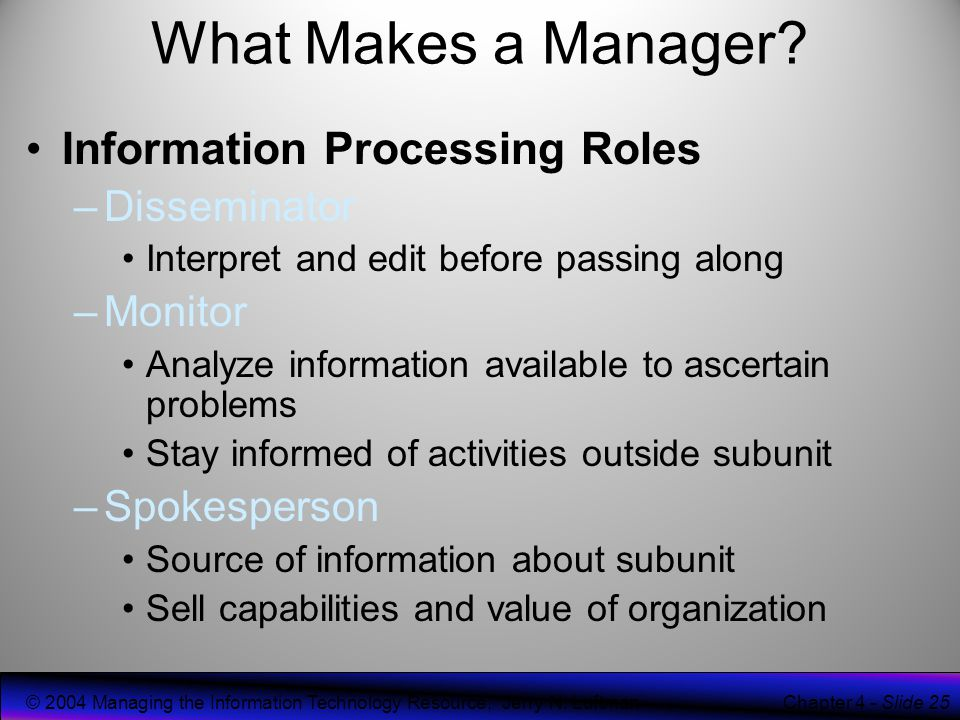 disseminator role Mintzberg's 10 management roles model sets out the essential roles that managers play these are: figurehead leader liaison monitor disseminator spokesperson entrepreneur disturbance handler resource allocator negotiator you can apply mintzberg's 10 management roles model by using it as a frame of reference when you want to develop your management skills.