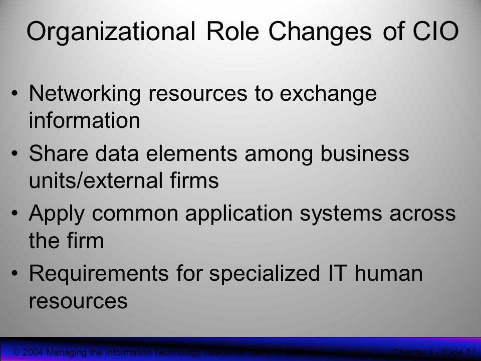 the role of technology in organizational The role of the cto: four models for success by tom berray,  organizational behavior,  for actually integrating and running the technology, ie the role of the.