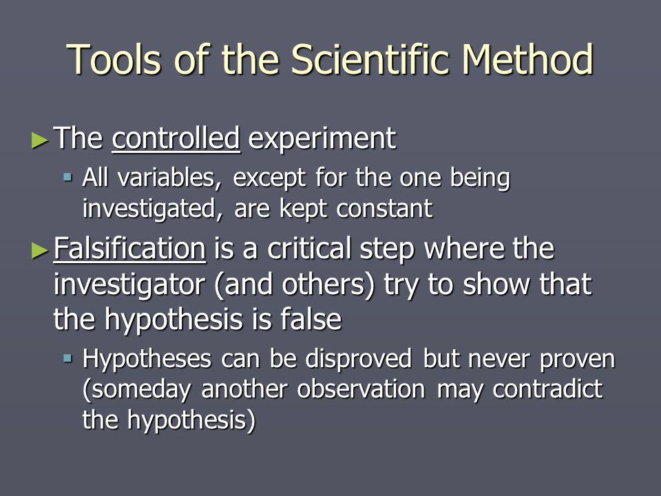 Tools of the Scientific Method