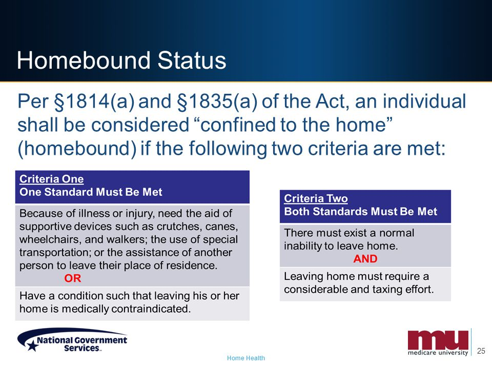 Homebound Status For Home Health