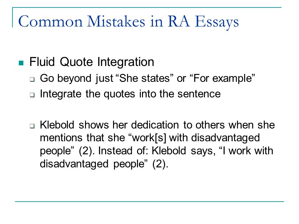 common mistakes in ra essays