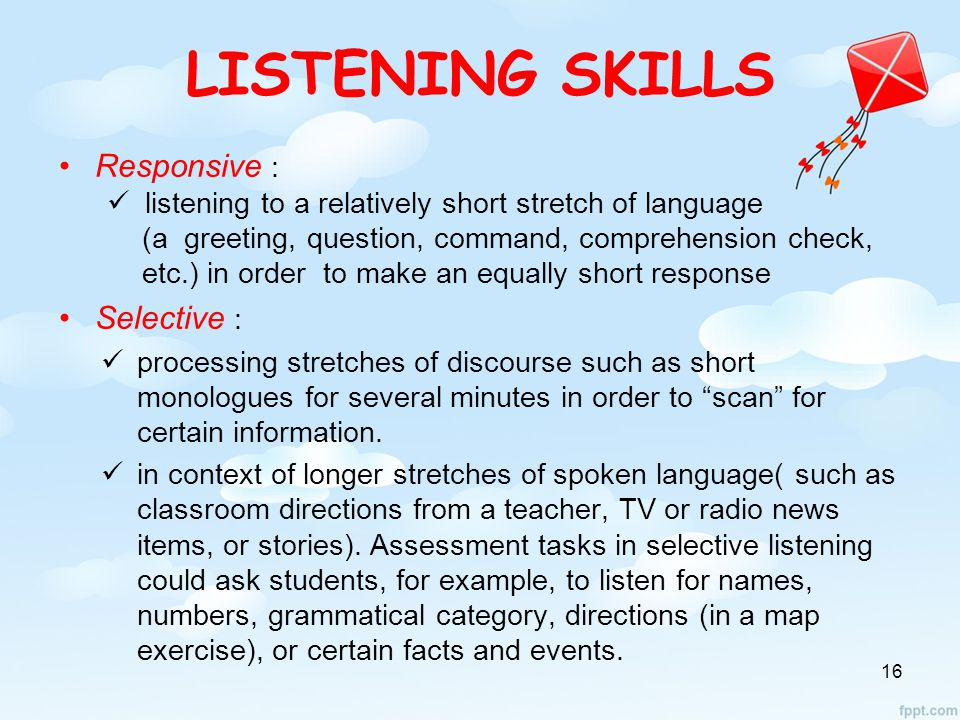 LISTENING SKILLS Responsive : Selective :