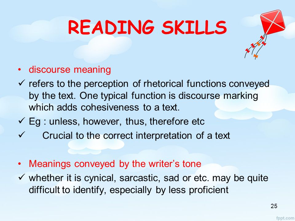READING SKILLS discourse meaning