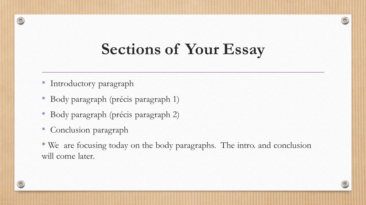 Sections of Your Essay Introductory paragraph