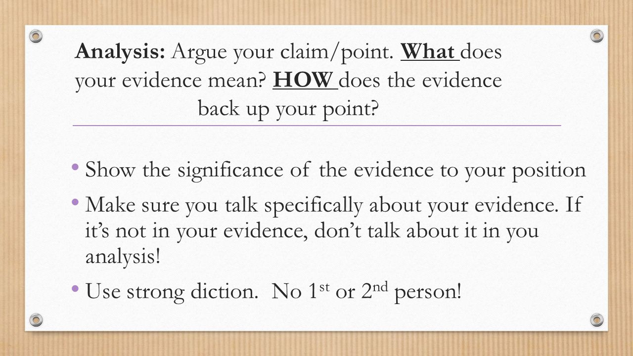 Analysis: Argue your claim/point. What does your evidence mean