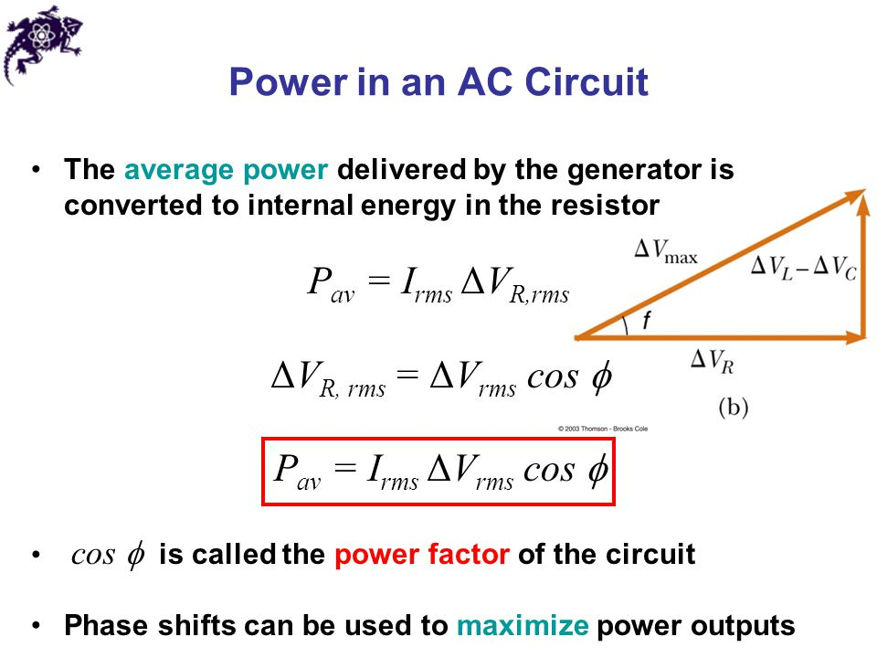 Power in an AC Circuit Pav = Irms ΔVR,rms ΔVR, rms = ΔVrms cos 
