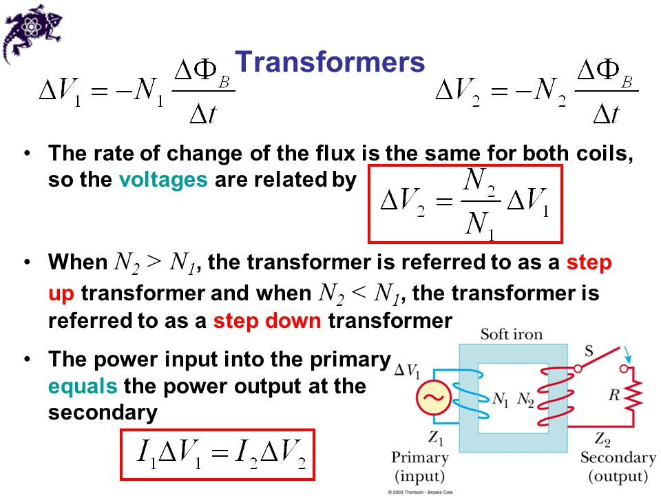 Transformers The rate of change of the flux is the same for both coils, so the voltages are related by.
