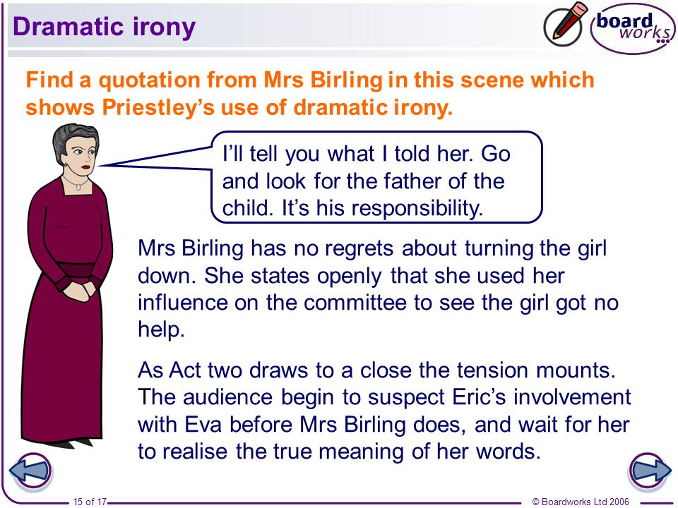 write essay dramatic irony We are presented with another dose of dramatic irony in the latter stages of  interrogation as investigation is about to come to a close, mr birling unhappily  states.