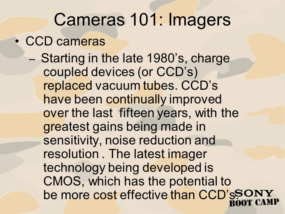 Cameras 101: Imagers CCD cameras
