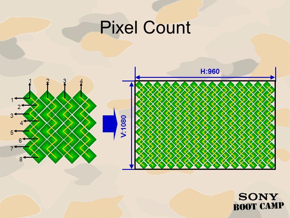Pixel Count H:960 1 2 3 4 1 2 3 4 V:1080 5 6 7 8
