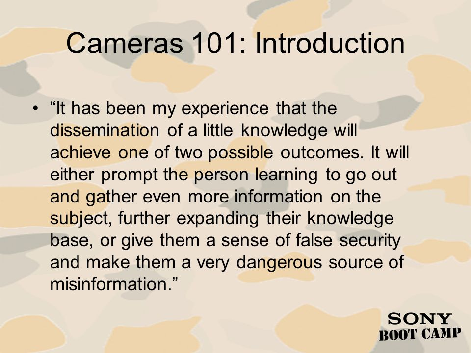 Cameras 101: Introduction
