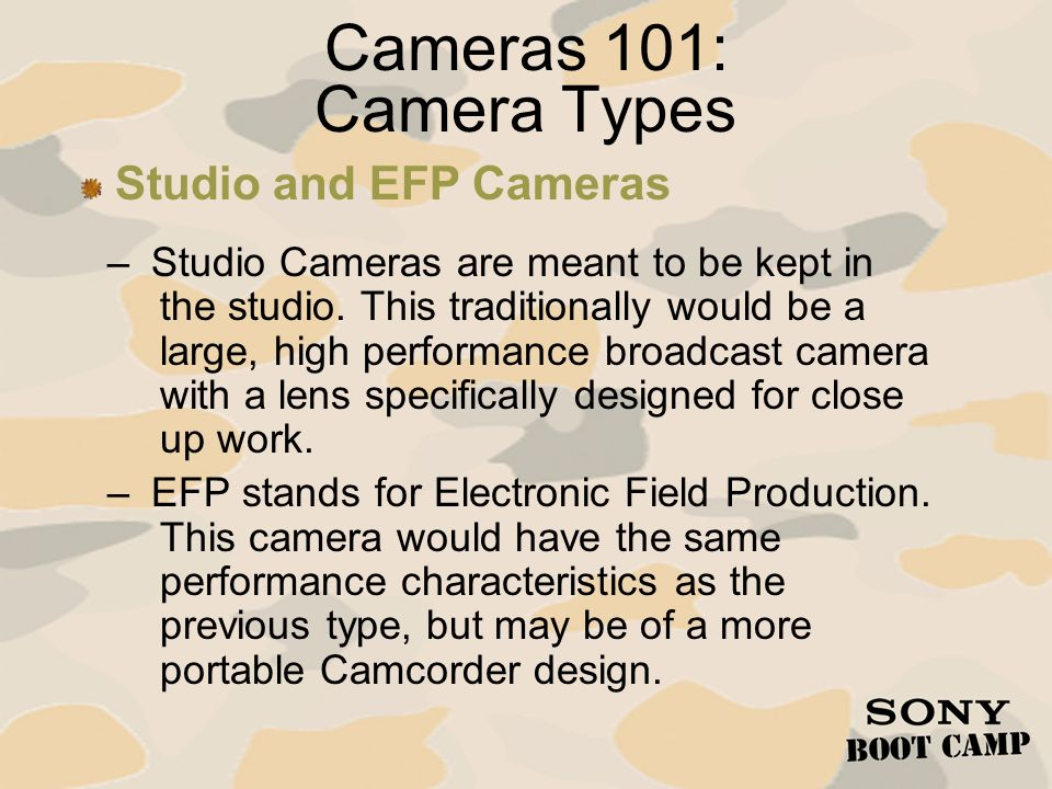 Cameras 101: Camera Types Studio and EFP Cameras