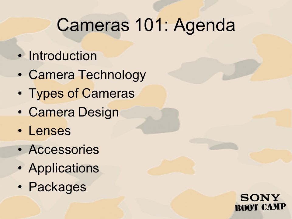 Cameras 101: Agenda Introduction Camera Technology Types of Cameras
