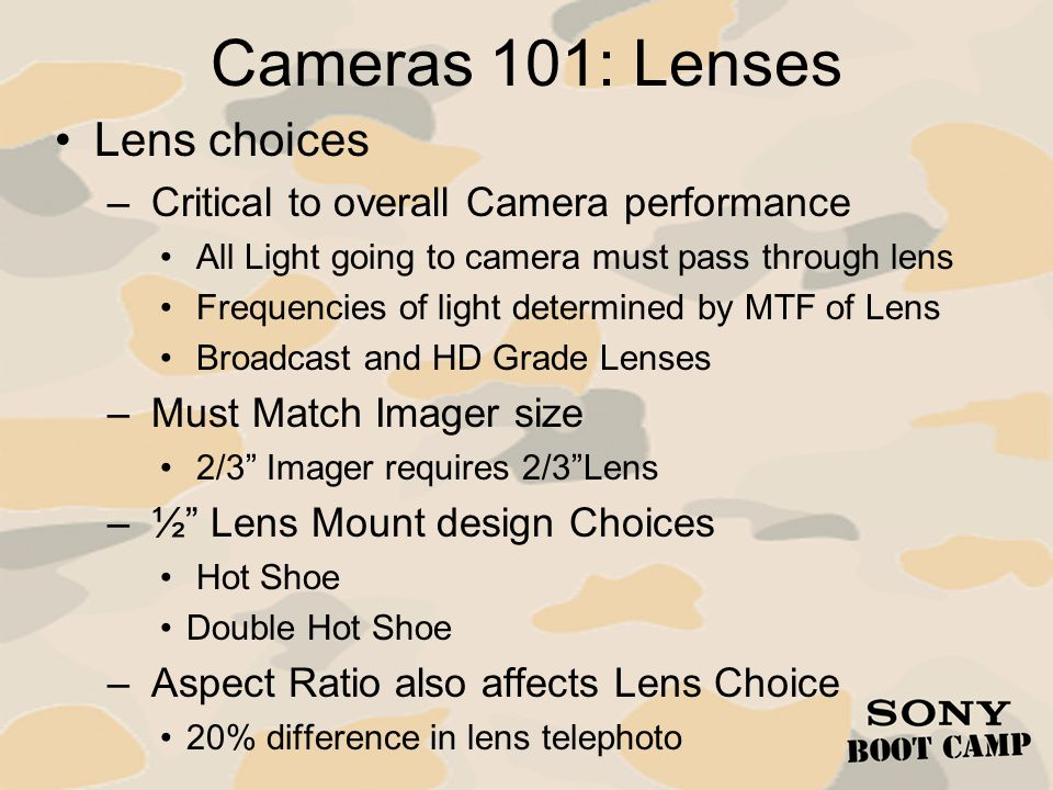 Cameras 101: Lenses Lens choices
