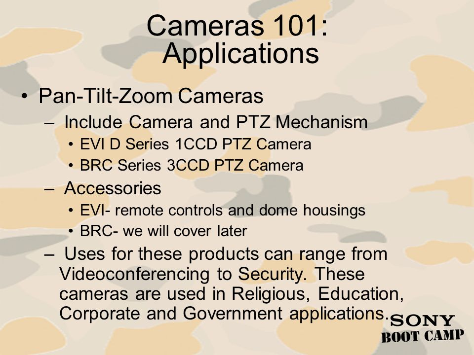 Cameras 101: Applications