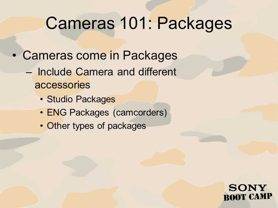 Cameras 101: Packages Cameras come in Packages
