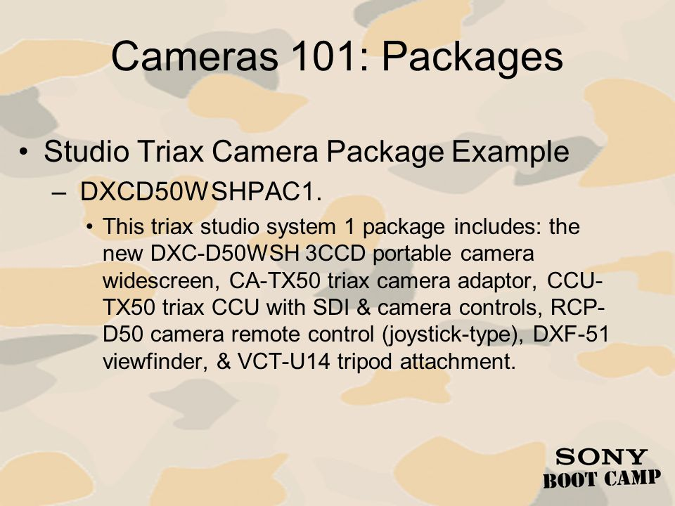 Cameras 101: Packages Studio Triax Camera Package Example