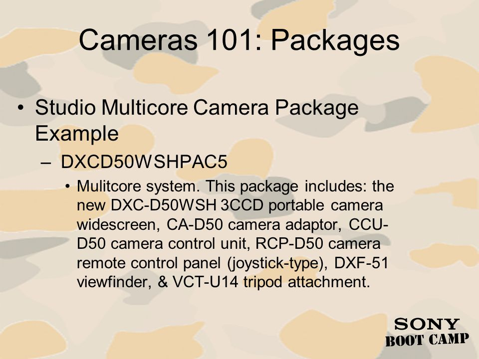 Cameras 101: Packages Studio Multicore Camera Package Example