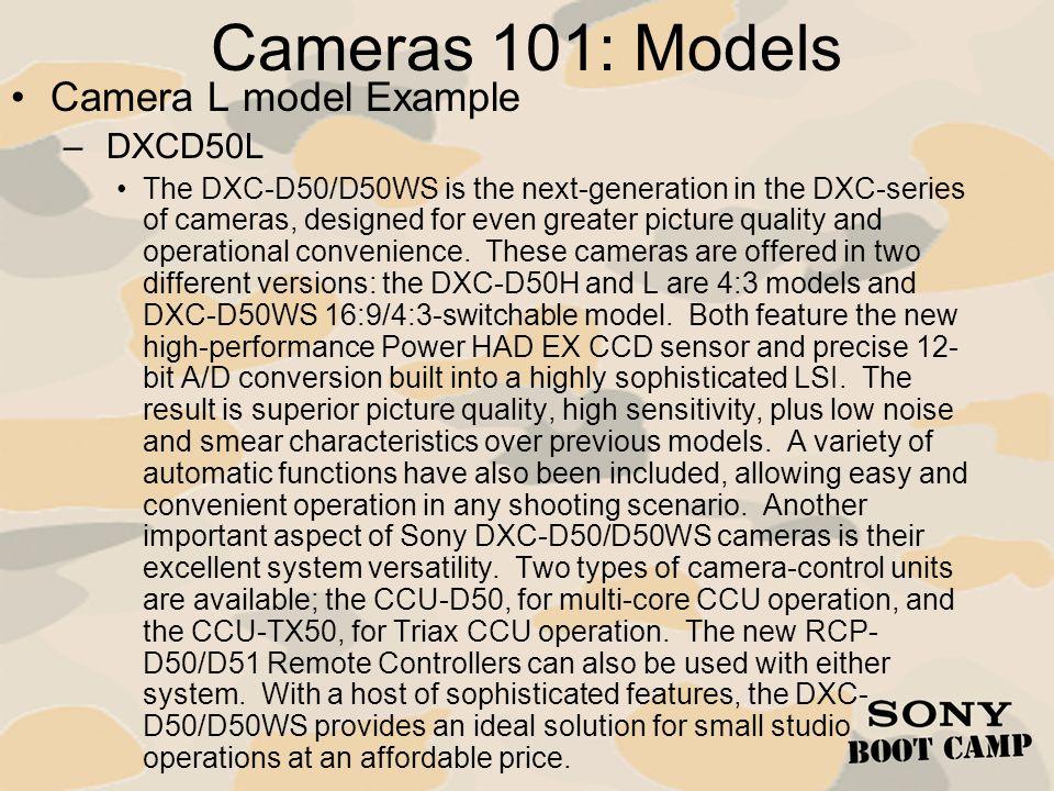 Cameras 101: Models Camera L model Example DXCD50L